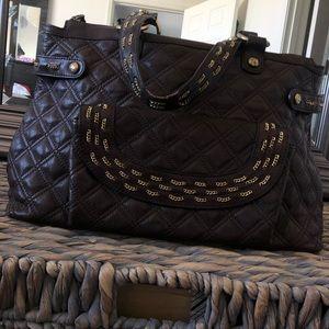 Kate Landry Chocolate Brown Leather Tote Handbag